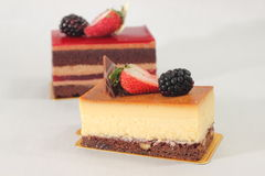 Homemade passion fruit cheese cake. Stock Photo