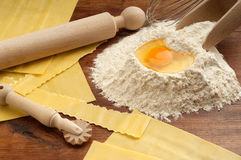 Homemade pasta. With rolling-pin flour and egg Stock Photo