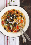 Homemade pasta alla norma with eggplant, tomato sauce and feta cheese Royalty Free Stock Photography