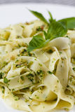 Homemade pasta from basil and arugula with green pesto in a white plate. Macro Royalty Free Stock Images