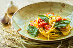 Homemade pasta with Basil and tomatoes Stock Image
