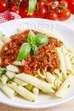 Homemade pasta and bolognese sauce Stock Photos