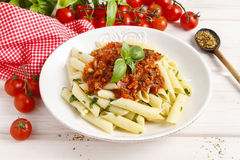 Homemade pasta and bolognese sauce Stock Photo