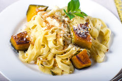 Homemade pasta butternut squash entre Stock Photography