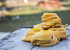 Homemade Pasta. Fresh Homemade Pasta on the wooden table Stock Photography