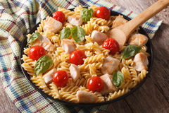 Homemade pasta fusilli with chicken, cherry tomatoes and basil c Stock Photos