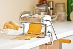 Homemade pasta maker with dough Royalty Free Stock Photo