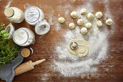 Homemade pasta making cutting out ravioli Stock Photos