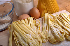 Homemade pasta. Pappardelle homemade pasta typical italian close up Royalty Free Stock Photography