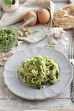 Homemade pasta with pesto Royalty Free Stock Image