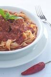 Homemade pasta with ragu of wild boar Stock Image