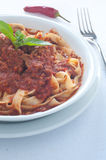 Homemade pasta with ragu of wild boar Royalty Free Stock Photography