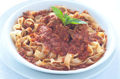 Homemade pasta with ragu of wild boar Stock Images