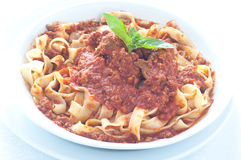 Homemade pasta with ragu of wild boar Royalty Free Stock Images