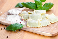 Homemade pasta ravioli with fresh basil Royalty Free Stock Image