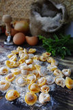 Homemade pasta ravioli on old wooden table with flour, eggs, kit. Chen italian herbs - cooking concept Stock Images