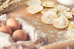 Homemade pasta. Homemade ravioli pasta prepared and ready for cooking Royalty Free Stock Photo