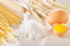 Homemade pasta scene. With wheat, flour and eggs Royalty Free Stock Photo