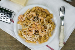 Homemade pasta with shrimps Stock Photo