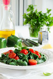 Homemade pasta with spinach Royalty Free Stock Photo