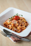 Homemade pasta tagliatelle with bolognese sauce Stock Image