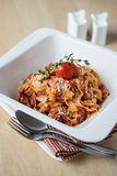 Homemade pasta tagliatelle with bolognese sauce Stock Images