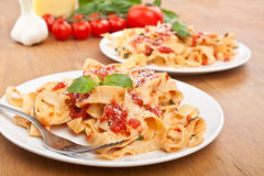 Homemade Pasta with Tomato Sauce Stock Photos