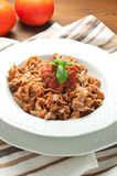 Homemade pasta topped with tomato and Parmesan integral Stock Photography
