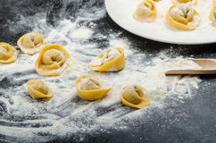 Homemade pasta tortellini stuffed Stock Photo