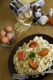 Homemade pasta with wine Stock Photo