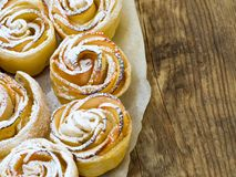 Homemade pastries of flaky unleavened dough with apples. On parchment paper with empty space for text Stock Image