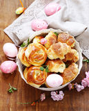 Homemade pastries, muffins, sweet buns for Easter Stock Photos