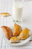 Homemade pastry and glass of milk. Royalty Free Stock Image