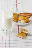 Homemade pastry and glass of milk. Royalty Free Stock Images