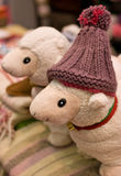 Homemade patchwork making woolen lambs Stock Image