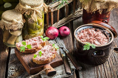 Homemade pate on sandwich Stock Image