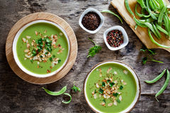 Homemade Pea And Leek Soup Royalty Free Stock Photos