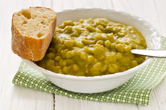 Homemade pea soup with bread Stock Photo