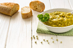 Homemade pea soup with bread Stock Images