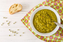 Homemade pea soup with bread Stock Image