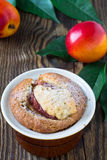 Homemade peach cake in a ramekin Royalty Free Stock Image