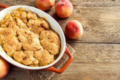 Homemade peach cobbler royalty free stock photos