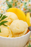 Homemade peach ice cream Stock Images