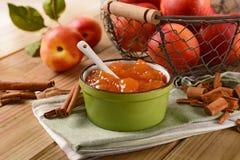 Homemade peach jam with fruit around Royalty Free Stock Photo