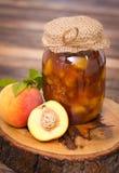 Homemade peach jam in the jar Stock Photos