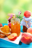 Homemade peach jam Stock Images