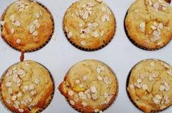 Homemade peach oatmeal muffins Stock Photo
