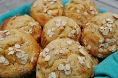 Homemade peach oatmeal muffins Royalty Free Stock Image