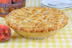 Homemade Peach Pie with Lattice Crust Royalty Free Stock Image