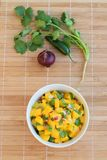 Homemade peach salsa. With red onion, jalapeno and coriander leaves Stock Photo